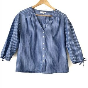 Madewell Striped Button-Down Peasant Top